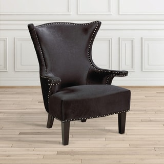 Home Gear Royal Wood and Velvet Nail Head-trimmed Chair