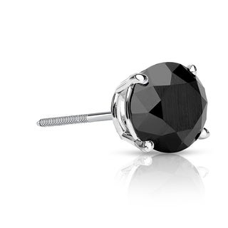 Auriya 14k Gold 3/4ct TDW Screw-Back Round Black Diamond Single Stud Earring