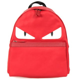 Fendi Monster Red Nylon Fashion Backpack