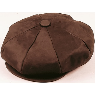 Henschel Brown Nubuck Leather 6-panel Newsboy Cap