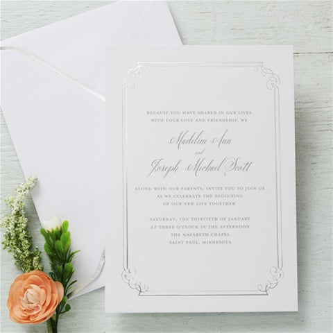 Silver Foil Embossed Invitations (25-count)