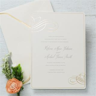 Gold Foil Embossed Invitations (Case of 25)