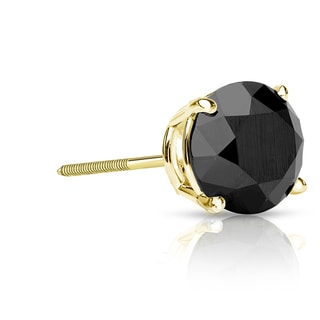 Auriya 14k Gold 1ct TDW 4-Prong Screw-Back Round Cut Black Diamond Single Stud Earring