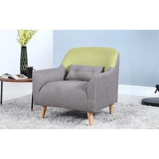 Mid Century Modern Style Two Tone Linen Fabric Living Room Accent Chair