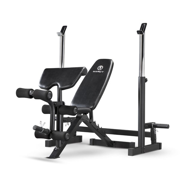 Marcy Deluxe Olympic Black Powder-coated Steel and Vinyl Weight Bench