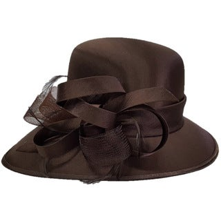 Swan Hat Brown Silk and Satin Crinoline Bow Shiny Cloche Dress Hat