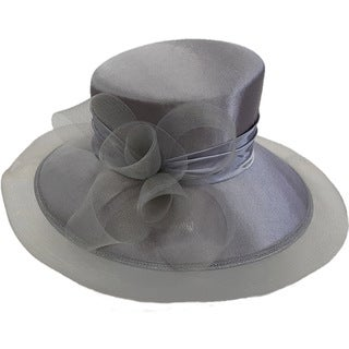 Swan Hat Large Crinolin Bow Grey Silk/Satin Shiny Covered Dress Hat