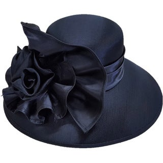 Swan Hat Large Satin Bow Navy Silk and Satin Shiny Covered Dress Hat