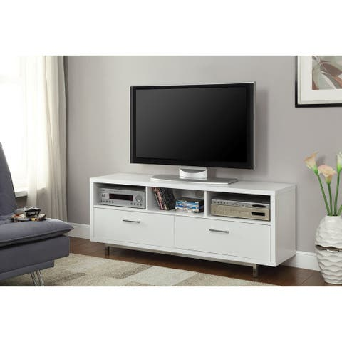 "Coaster Company Coastal White TV Console with Drawers - 60"" x 15.50"" x 23.50"" - 60"" x 15.50"" x 23.50"""