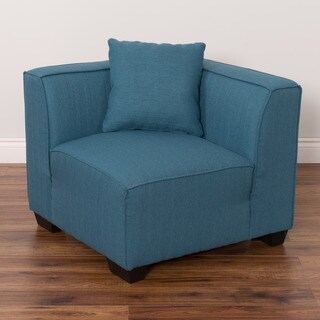 CorLiving Lida Upholstered Corner Wedge Wood/Linen/Foam Sectional Seat