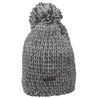 Hatch Cable Grey and White Knit Pom-pom Fully Fleece-lined Beanie