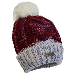 Hatch Rainbow Burgundy/ Ivory Knit Pom-Pom Fleece-lined Beanie