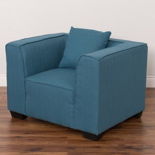 CorLiving Lida Blue Wood/Linen Upholstered Padded Armchair