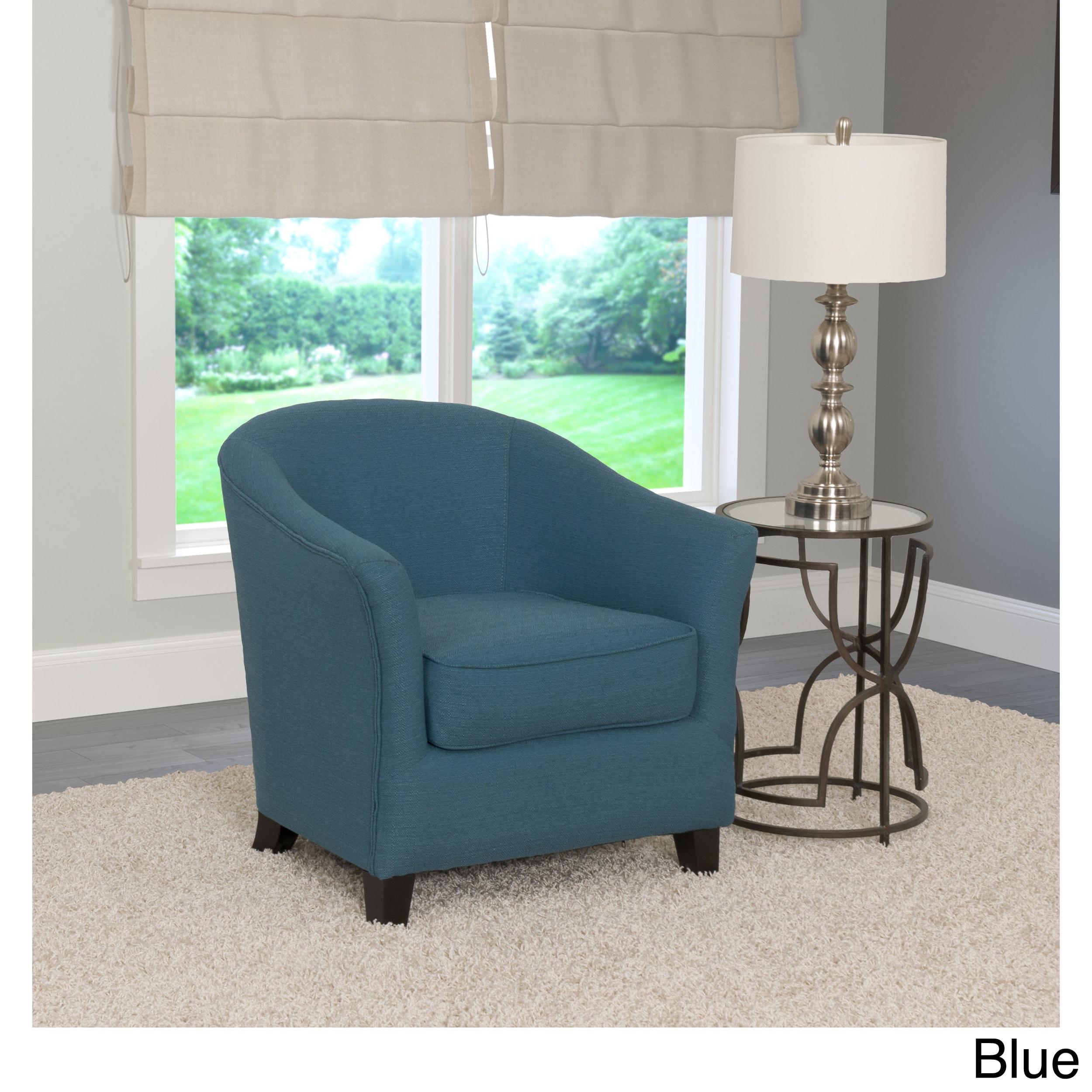 CorLiving Shirley Modern Linen Club Chair Blue