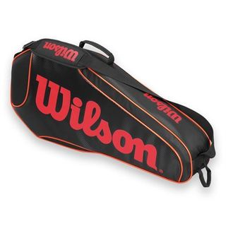 Wilson Burn Team Black and Orange Polyester Triple Tennis Bag