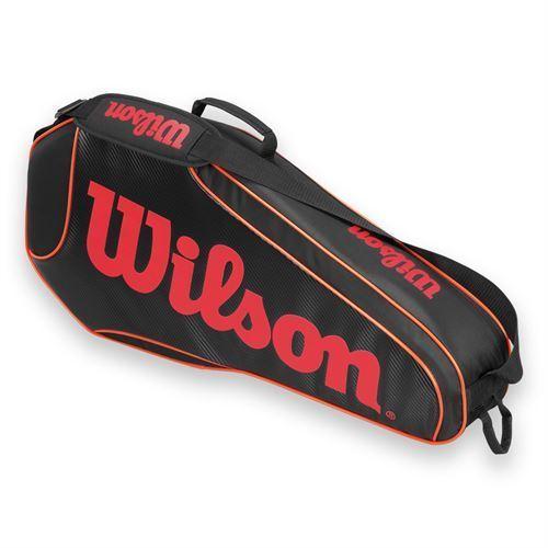 Wilson Burn Team Black and Orange Polyester Triple Tennis Bag