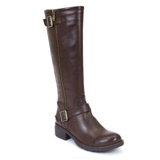 GC Shoes Women's Jessie Brown Faux Leather Knee-high Boots