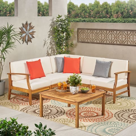 Perla Outdoor 5 Seater V Shaped Acacia Wood Sectional Sofa Set with Coffee Table
