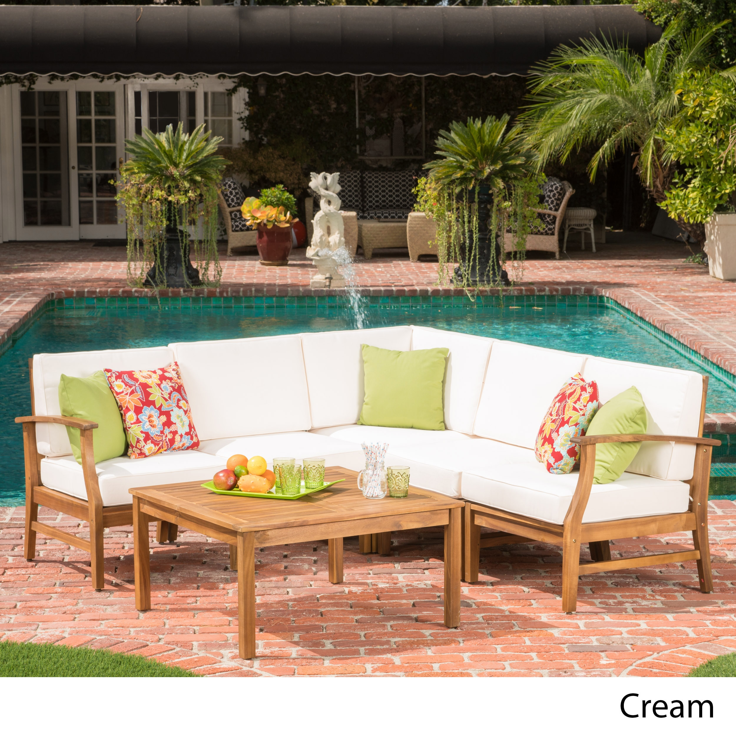 perla 6 piece outdoor wood chat set w cushions by christopher