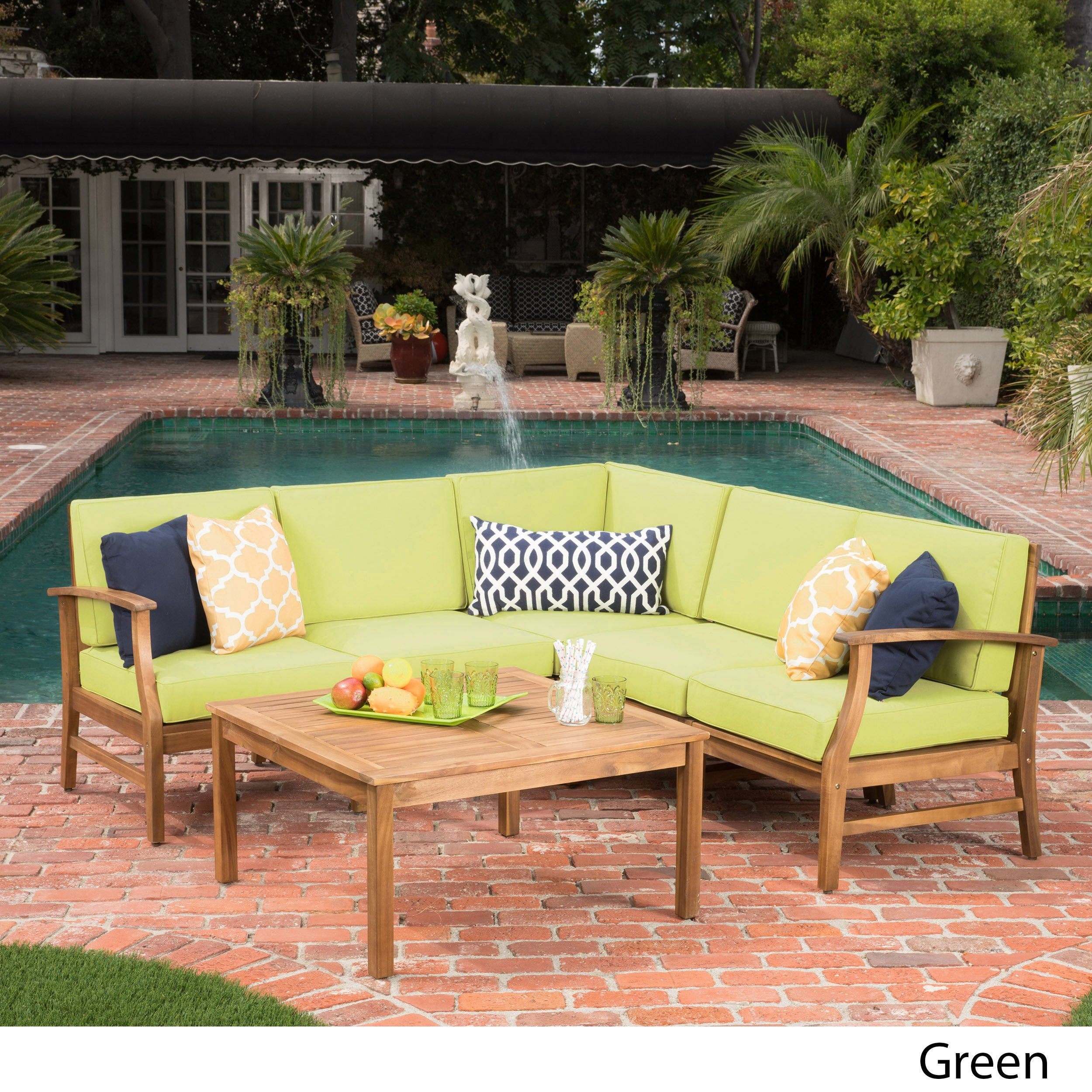 Perla 6 Piece Outdoor Wood Chat Set W/ Cushions By Christopher Knight Home
