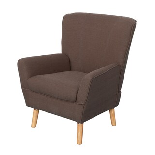 CorLiving Demi Retro Inspired Wood, Linen Fabric, and Foam Club Chair