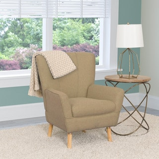 CorLiving Demi Mid-century Wood, Linen Fabric, and Foam Club Chair