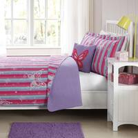 Laura Hart Kids Butterfly Striped Quilt Set with Decorative Pillow