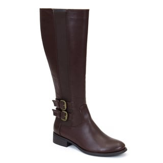 GC Shoes Women's Cassie Brown Faux Leather Knee-high Boots