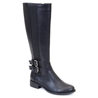 GC Shoes Women's Cassie Black Faux Leather Knee High Boot