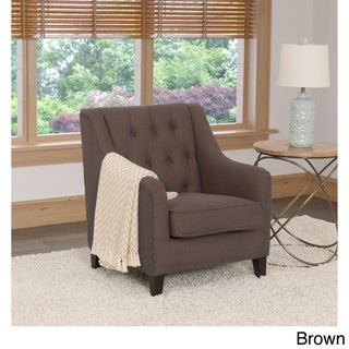 CorLiving Dana Linen Upholstered Diamond-tufted Accent Chair (Option: Brown)