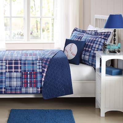 My World Navy Plaid Patch Lightweight 3-piece Quilt Set with Decorative Pillow