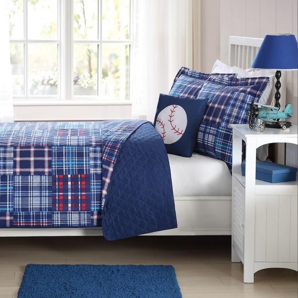 Laura Hart Kids Navy Plaid Patch Lightweight 3-piece Quilt Set with Decorative Pillow