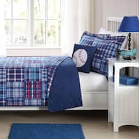My World Navy Plaid Patch Lightweight 3-piece Quilt Set with Decorative Pillow