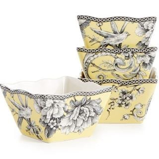 222 Fifth Adelaide Yellow Porcelain Square Appetizer Bowls (Pack of 4)