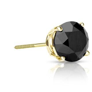 Auriya 14k Gold 1 1/2ct TDW 3-Prong Screw-Back Round Cut Black Diamond Single Stud Earring