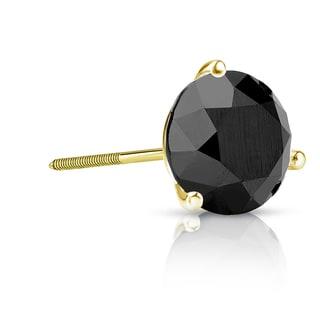 Auriya 14k Gold 2ct TDW 3-Prong Screw-Back Round Cut Black Diamond Single Stud Earring