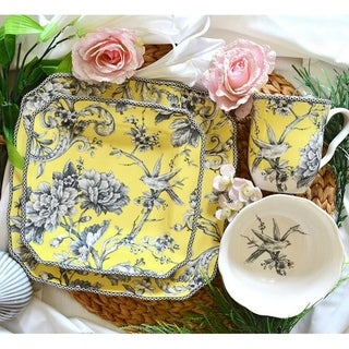 222 Fifth Adelaide Yellow Porcelain 16-piece Dinnerware Set (Service for 4)