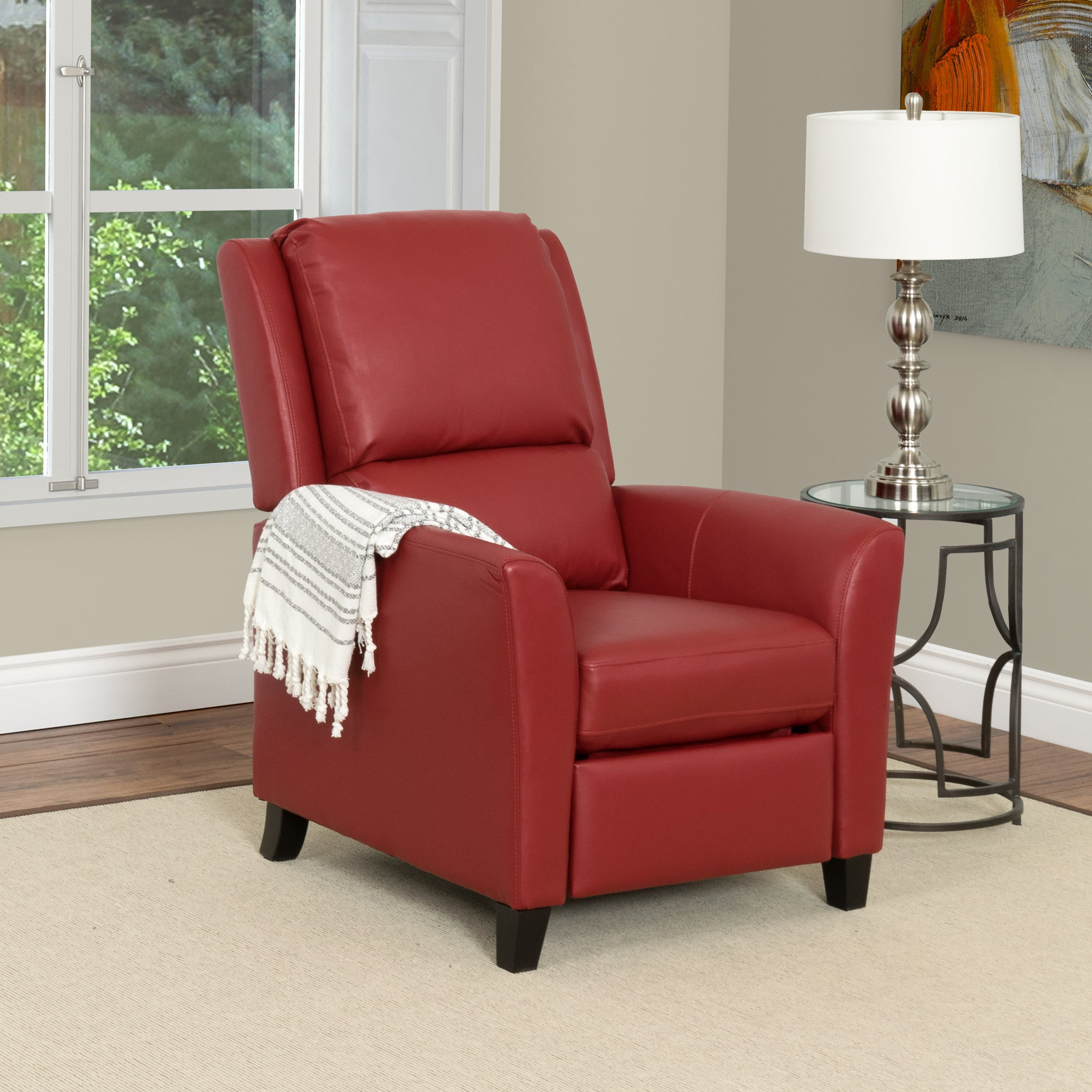 CorLiving Kate Bonded Leather and Wood Recliner (Red), Si...