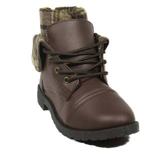 Blue Women's Mellie Black/Brown Faux Leather Military Boots (More options available)