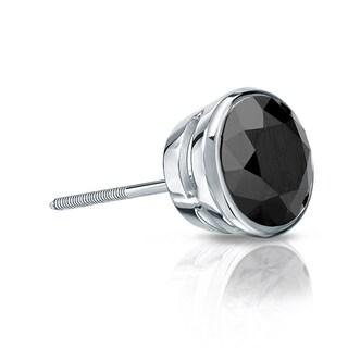 Auriya 14k Gold 1/3ct TDW Bezel Screw-Back Round Cut Black Diamond Single Stud Earring