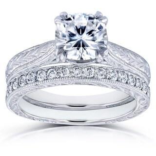 Kobelli 14k White Gold Cushion Brilliant Moissanite and 1/3ct TDW Diamond Antique Cathedral Bridal Rings Set (G-H, I1-I2)