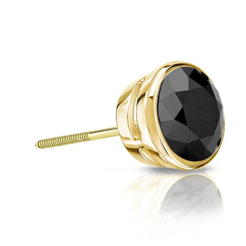 Auriya 1/2ctw Bezel-Set Round Black Diamond SINGLE (1) Stud Earring 14k Gold
