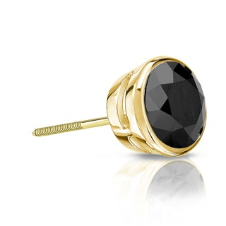 Auriya 14k Gold 1/2ct TDW Bezel Screw-Back Round Cut Black Diamond Single Stud Earring