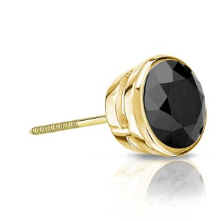Auriya 14k Gold 3/4ct TDW Bezel-Set Round SINGLE STUD (1) Black Diamond Earring (3 options available)