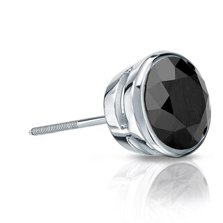 Auriya 14k Gold 1ct TDW Bezel Screw-Back Round Cut Black Diamond Single Stud Earring