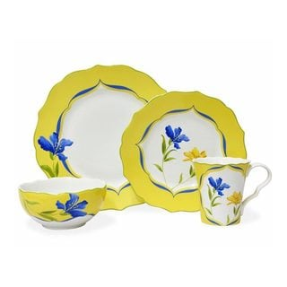 222 Fifth French Garden 16-piece Yellow and White Porcelain Dinnerware Set (Service for 4)