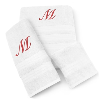 Milan Cotton 3-piece Red Monogram Towel Set