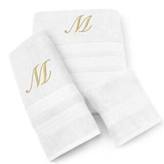 Milan Cotton 3-piece Gold Monogram Towel Set