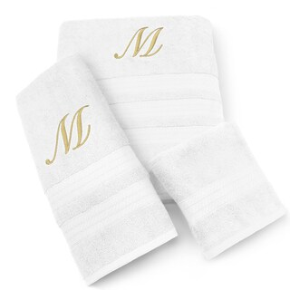 Kaufman Imperial Cotton 3-piece Gold Monogram Towel Set