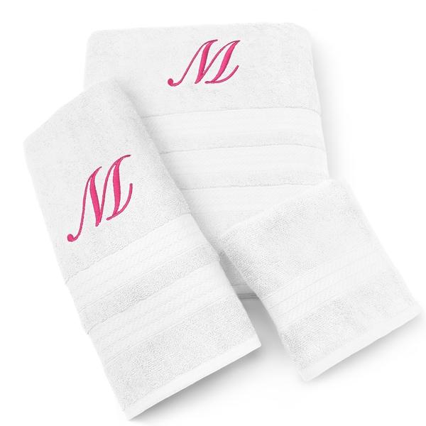 Milan Cotton 3-piece Fuchsia Monogram Towel Set